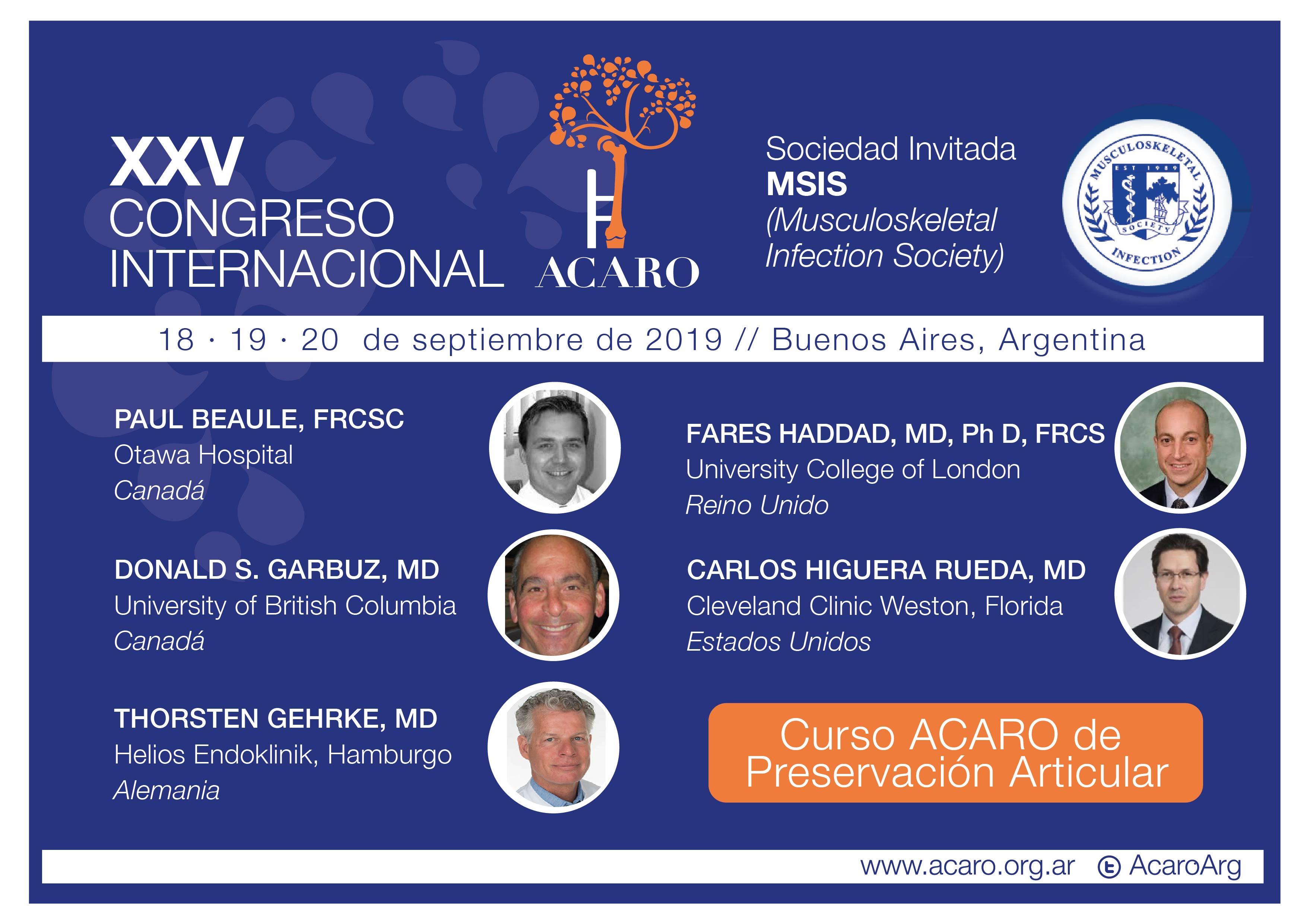 XXV Congreso Internacional ACARO 2019