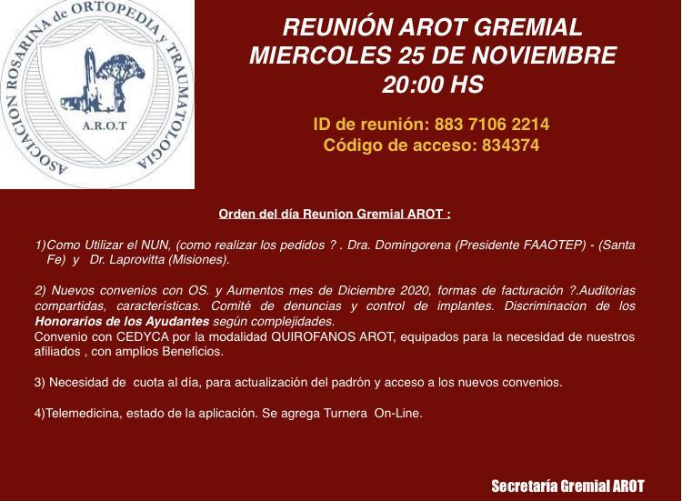 Reunión AROT Gremial – Miércoles 25 de noviembre 20 hs.